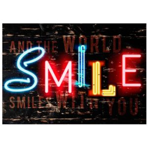 View Smile Black, Blue, Gold Effect & Red Wall Art (W)102cm x (H)72.5cm details
