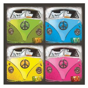 View Campervan Collage Multicolour Wall Art (W)50cm x (H)50cm details