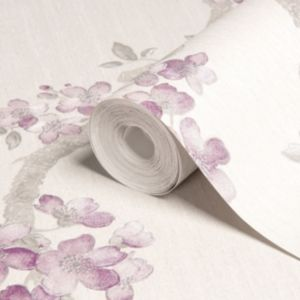 View Mercutio Cream, Grey & Plum Blossom Wallpaper details