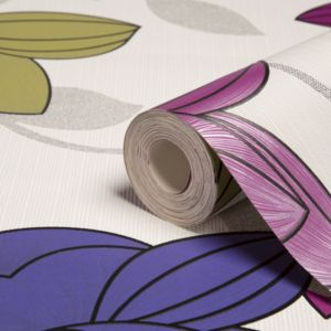 View Superflora Green, Pink & Purple Floral Wallpaper details