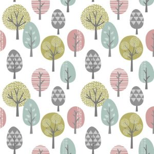 View Contour Trees Vinyl Duck Egg, Green & Pink Wallpaper details