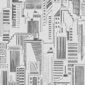 View Contour Sketch Cityscape Vinyl Black & White Wallpaper details
