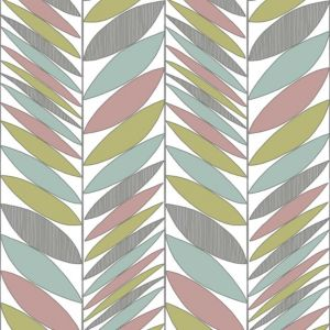 View Contour Abstract Leaves Vinyl Duck Egg, Green & Pink Wallpaper details
