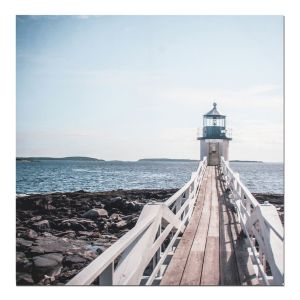 View Jetty View Blue, Brown & White Wall Art (W)90cm x (H)90cm details