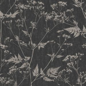 View Gilded Fern Black & Grey Metallic Effect Wallpaper details