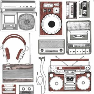 View Retro Music Brown & White Wallpaper details