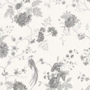 Image of Graham & Brown Julien MacDonald Exotica White & silver Floral & birds Wallpaper