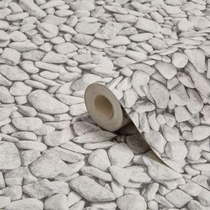 Graham & Brown Contour Grey Pebbles Kitchen & Bathroom Wallpaper