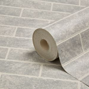 Image of Graham & Brown Contour Grey Small brick Wallpaper