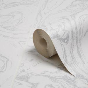 Graham & Brown Contour White & Silver Glitter Marble Tile Glitter Effect Kitchen & Bathroom Wallpaper