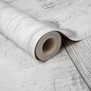 Image of Fresco Grey Wood effect Wallpaper