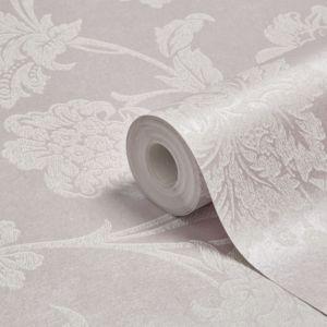 Image of Graham & Brown Fibrous Sandringham Lilac & white Floral Metallic Wallpaper