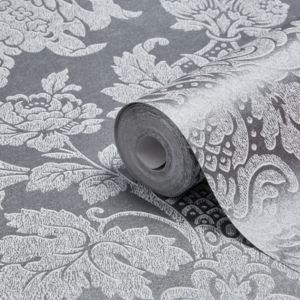 Image of Graham & Brown Fibrous Buckingham Silver Metallic Wallpaper