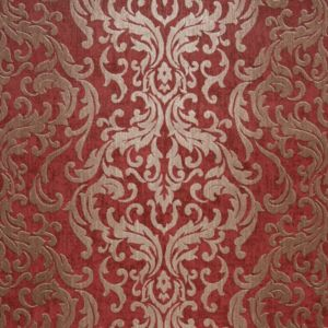 Image of Drama Red Damask Wallpaper