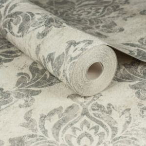 Image of Graham & Brown Boutique Cream & silver Wallpaper