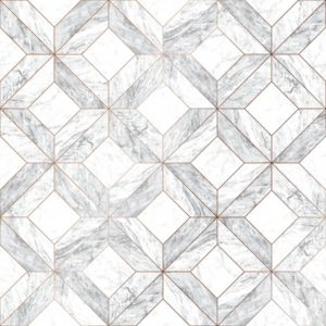 Image of Contour Grey Marble marquetry Wallpaper