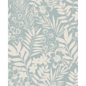 Image of Boutique Alice Duck egg blue Leaf Metallic effect Wallpaper