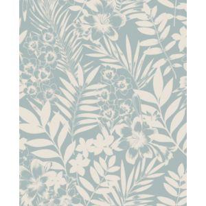 Image of Boutique Alice Duck egg Leaf Metallic effect Embossed Wallpaper