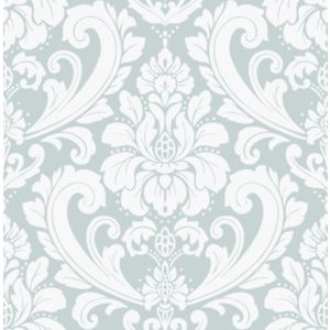 Image of Boutique Adelina Duck egg blue Damask Metallic effect Wallpaper