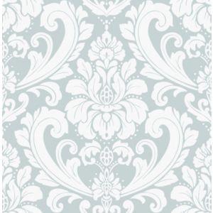 Image of Boutique Adelina Duck egg Damask Metallic effect Embossed Wallpaper