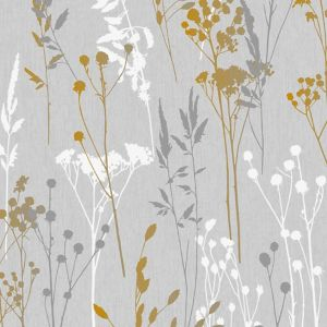 Image of Superfresco Easy Grey & yellow Floral Textured Wallpaper