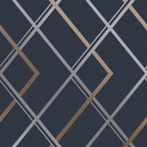 Image of Superfresco Easy Navy Geometric Textured Wallpaper