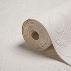 View Dado Damask White Vinyl Wallpaper details