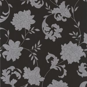 View Silks Black & Silver Vinyl Wallpaper details