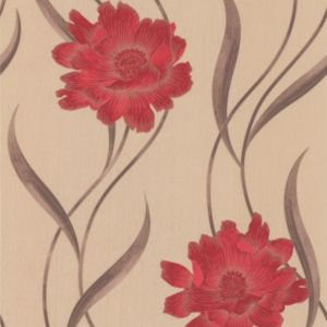 View Super Fresco Paste The Paper Poppy Beige & Red Wallpaper details
