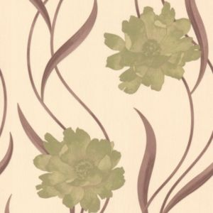 View Poppy Cream & Green Wallpaper details
