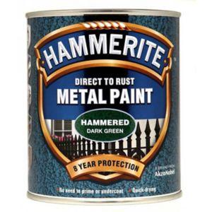 Image of Hammerite Dark green Hammered effect Metal paint 0.75L