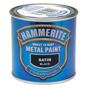 Image of Hammerite Black Satin Metal paint 0.25L