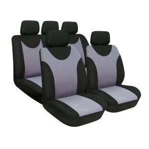 View Sakura Aveo Black & Silver Universal Fit Full Seat Cover Set details
