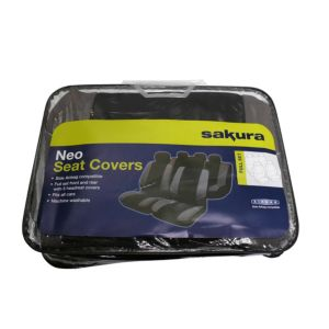 View Sakura Neo Black Universal Fit Full Seat Cover Set details