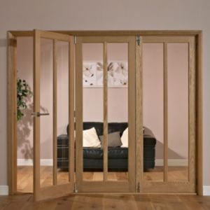 View Carron 2 Panel 2 Lite Oak Veneer Glazed Internal Folding Folding Door RH, (H)2035mm (W)1918mm details
