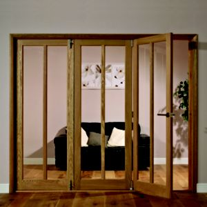 View Freedom Carron Oak Veneer 2 Panel Glazed Interior LH Folding Door (H)2035mm (W)2146mm details