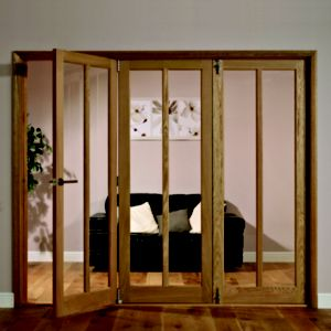 View Carron 2 Lite Oak Veneer Glazed Interior Folding Door RH, (H)2035mm (W)2146mm details