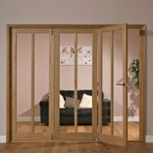 View Carron 2 Panel 2 Lite Oak Veneer Glazed Internal Folding Door LH, (H)2035mm (W)2374mm details