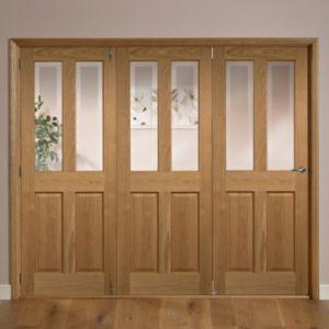 Elveden 4 Panel 2 Lite Oak Veneer Glazed Internal Folding Door LH  (H)2035mm (W)2146mm