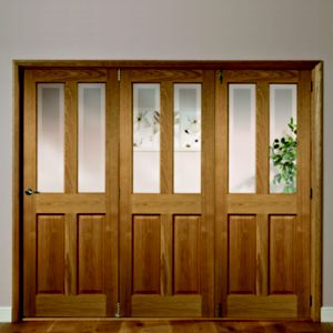 Image of Elveden 4 Panel 2 Lite Oak Veneer Glazed Internal Folding Door RH (H)2035mm (W)2374mm