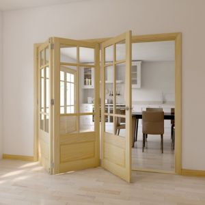 View Tamar Clear Pine Glazed Internal Trifold Door LH, (H)2035mm (W)2374mm details