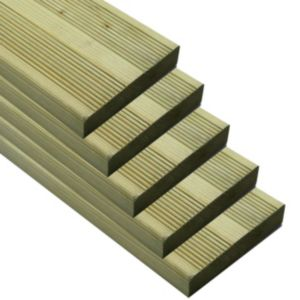 View Premium Green Softwood Reversible Deck Board (W)144mm (L)2400mm (T)28mm, Pack of 5 details