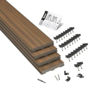 Image of Trex® Torino brown Composite Deck board (T)24mm (W)140mm (L)2400mm Pack of 4