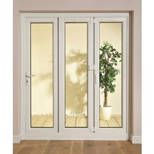 View White PVCu Glazed Folding Patio Door & Frame, (H)2009mm (W)2390mm details