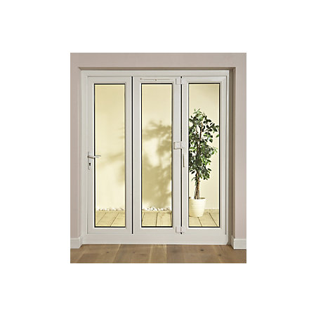 White pvcu glazed folding patio door frame h 2009mm w for Porch door and frame