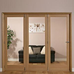 Image of 1 Panel Shaker 1 Lite Oak Veneer Glazed Internal Folding Door RH (H)2035mm (W)2374mm