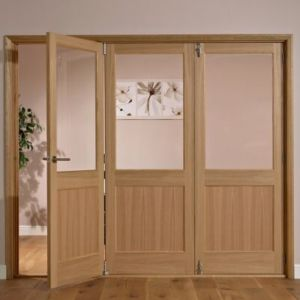 View Fontburn 1 Panel 1 Lite Oak Veneer Partially Glazed Internal Folding Door LH, (H)2035mm (W)2374mm details