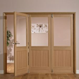 View Fontburn 1 Panel 1 Lite Oak Veneer Partially Glazed Internal Folding Door LH, (H)2035mm (W)2146mm details
