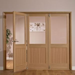 View Fontburn 1 Panel Shaker 1 Lite Oak Veneer Partially Glazed Internal Folding Folding Door RH, (H)2035mm (W)2146mm details