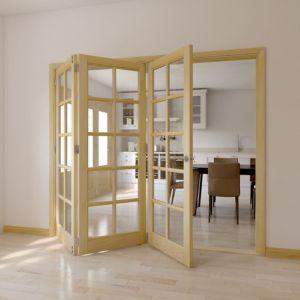 10 Lite Clear Pine Clear Pine Veneer Glazed Internal Trifold Door  (H)2035mm (W)2146mm